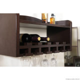Cremagliera fissata al muro classica e pratica del metallo e di legno di vino di vetro
