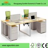 4 Seater木ワークステーション表のための現代Uの形の鉄骨フレームのオフィス用家具