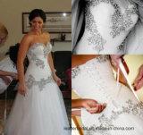 Vestido de casamento nupcial Wd052 da sereia luxuosa Strapless do vestido de casamento de Rinestones