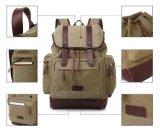 袋を(カーキ色)ハイキングする型のキャンバスのバックパックのリュックサックのBookbagの学生かばん