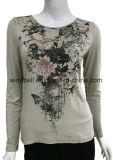 최신 훈련을%s 가진 여자를 위한 목 t-셔츠의 둘레에 인쇄되는 꽃