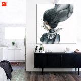 Cópia da arte da aguarela da mulher da máscara dos desenhos animados