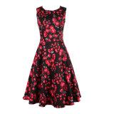 Il raso stampato fiore più di formato ha fatto una riga vestito da partito