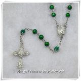 Rosario verde dei branelli di vetro, rosari di vetro (IO-cr347)