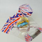 Customzied a estampé le sac latéral basé dur carré transparent de cadeau de sacs de sucrerie de cellophane de pain de gousset de BOPP avec le bas dur