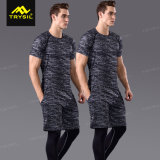 Gimnasia masculina Legging de la camisa del hombre del Tracksuit de los hombres de la ropa de deportes