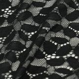 広いHowllow-outの花の白くおよび黒いまつげの衣服のレースファブリック