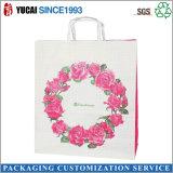 Saco de compra branco feito sob encomenda do papel de embalagem Com o saco do presente da cópia do logotipo