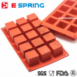 15 muffe del cioccolato della caramella della muffa del sapone del cubo del quadrato del silicone della cavità