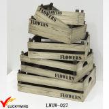 Potenciômetros de flor quadrados internos antigos de madeira do plantador do zinco do vintage