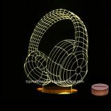 Wood Base Dia dos Namorados Gift 3D LED Night Lamp / Light