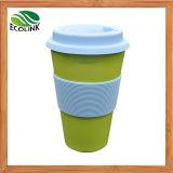 Bambusfaser-Kaffeetasse mit Silikon-Kappe u. Hülse