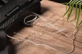 Cartões acrílicos gravados personalizados do convite do casamento