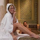 Ägyptische Baumwollhotel-weißer Unisexvelour-mit Kapuze Bademantel