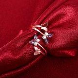 Anillos abiertos plateados oro de la aleación del Zircon de la joyería de las mujeres de Rose del anillo de las mujeres del diamante de la dimensión de una variable de la mariposa