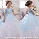 Vestido F1715 da menina de flor do casamento do laço do vestido de esfera da representação histórica da menina