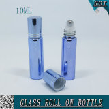 10ml Blue Electroplating Glass Roll on Bottle with Steel Ball