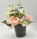 Decoração cerâmica cor-de-rosa das flores artificiais Potted