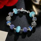 Antique Charm Bracelet & Crown Blue Murano Beads Charm Bracelets Jóias