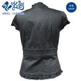 Schwarze kurze Hülse elastische V-Stutzen Spitze-Tasten-reizvolle Dame-Form-Bluse