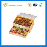 사치품에 의하여 주문을 받아서 만들어지는 푸시-풀 서랍 선물 초콜렛 포장 상자 (금 종이 분배자에)