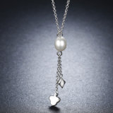 純銀製のネックレスの女性の淡水の真珠の火かき棒のふさの真珠のネックレスのJewelrの925のネックレス