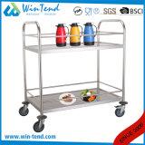 chariot mobile à service de vin et de boisson alcoolisée du tube 2tiers de poussée ronde de main