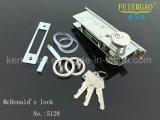 5128 trava de porta deslizante de alumínio com cilindro de latão 3keys