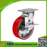 Rote PU-Rad-Fußrolle mit guter Qualität