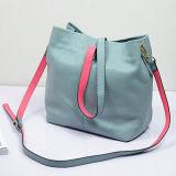 Un sacchetto delle 2017 di contrasto di colore del cuoio genuino delle borse donne del Tote di stile morbido Emg4734