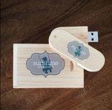 Mecanismo impulsor de encargo de la pluma del flash del palillo de la memoria del USB 2.0 de madera del arce/del bambú/de la nuez del eslabón giratorio de DIY