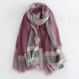 点検された印刷されたビスコース女性の方法長い絹のスカーフ(YKY1122)