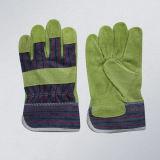 Желтая перчатка кожи для перчаток работы ткани ладони Split кожи коровы полная