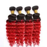 """26 """"深い巻き毛のバージンの毛のOmbreの織り方毛3束の1b/Red"""