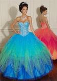 Neue heiße Qualität bördelte das Backless Höhe aufgeschlitzte reizvolle Abschlussball-Kleid, angepasst