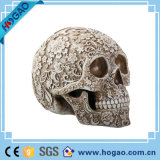 Polyresin découpant la ligne crâne de fleur de Veille de la toussaint de vente en gros