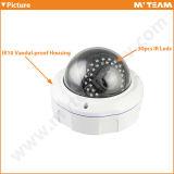 Nuova macchina fotografica 720p 1.0MP del IP di Varifocal della cupola della prova del vandalo di disegno con la macchina fotografica del CCTV di obbligazione della Banca del FCC RoHS del Ce con il IR tagliato (MVT-M2720)