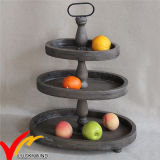 Luckywind Antique 3 Tier Wood Oval Tray Stand