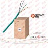 Pasar el cable de la red de la prueba UTP Cat5e de la platija