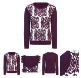 Purpurrote Intarsia Frauen-Form-Strickjacke