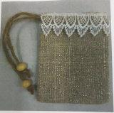 Sac de cordon de jute de tissu en soie, sac en soie, sac de toile de jute avec le tissu en soie