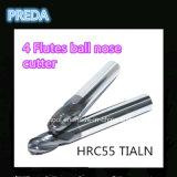 HRC55 Tialn 4 ferramentas de potência dos moinhos de extremidade do nariz da esfera das flautas