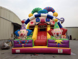 Glissière gonflable de peau géante populaire avec le dessin animé de clown