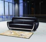Le sofa en cuir d'unité centrale de sofa noir de bureau a placé (DX523)