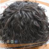 인간적인 느슨한 자연적인 곱슬 머리 남자 Toupee 가발을 주문을 받아서 만드십시오