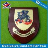 Logo en bois de lion/dragon du trophée 3D avec la plaque en bois d'écran protecteur d'émail
