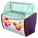 La vetrina del gelato/il congelatore italiani visualizzazione del Popsicle ha formato differente