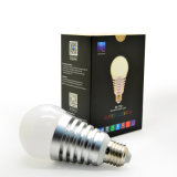 bulbo claro de alumínio plástico do diodo emissor de luz Bluetooth de 7.5W E27