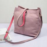 Saco de 2016 mulheres do Tote das bolsas do couro genuíno da cor do contraste do estilo macio Emg4734