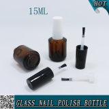 kosmetische 15ml Nagellack-Glasflaschen-bernsteinfarbige Verpackung